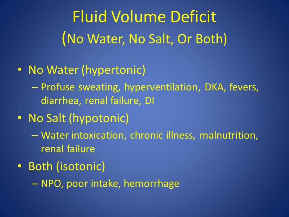 Fluid Volume Deficit (No Water, No Salt, Or Both)