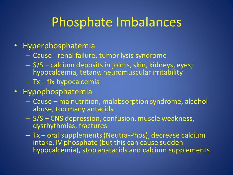Phosphate Imbalances Hyperphosphatemia Hypophosphatemia