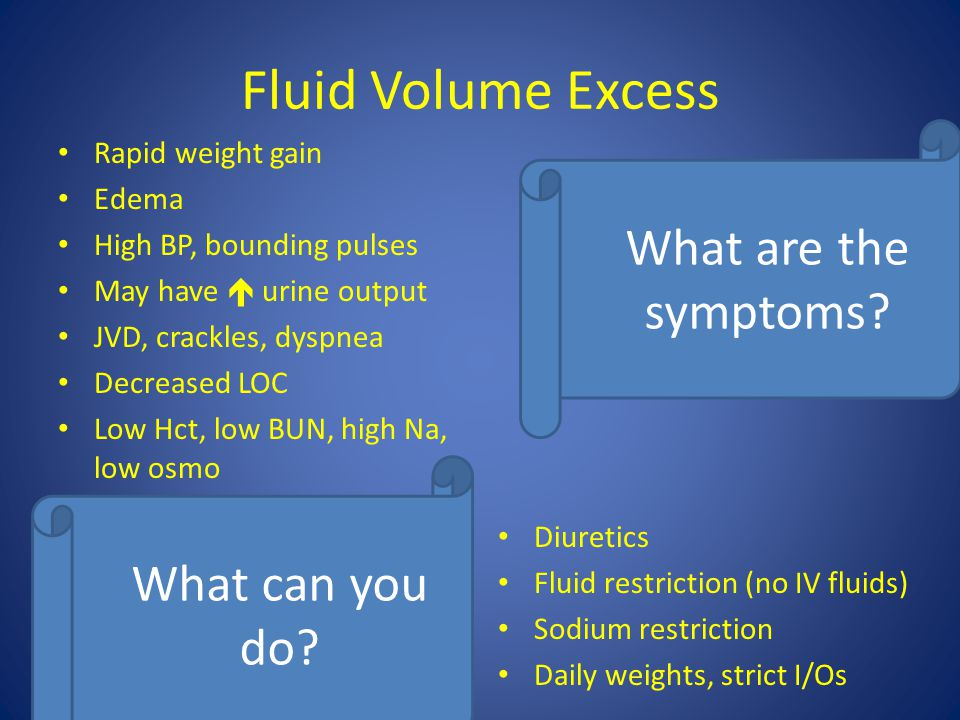 Fluid Volume Excess What are the symptoms What can you do