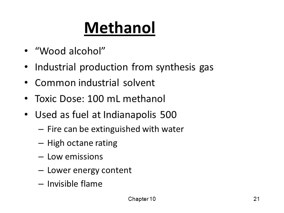 Methanol Wood alcohol Industrial production from synthesis gas