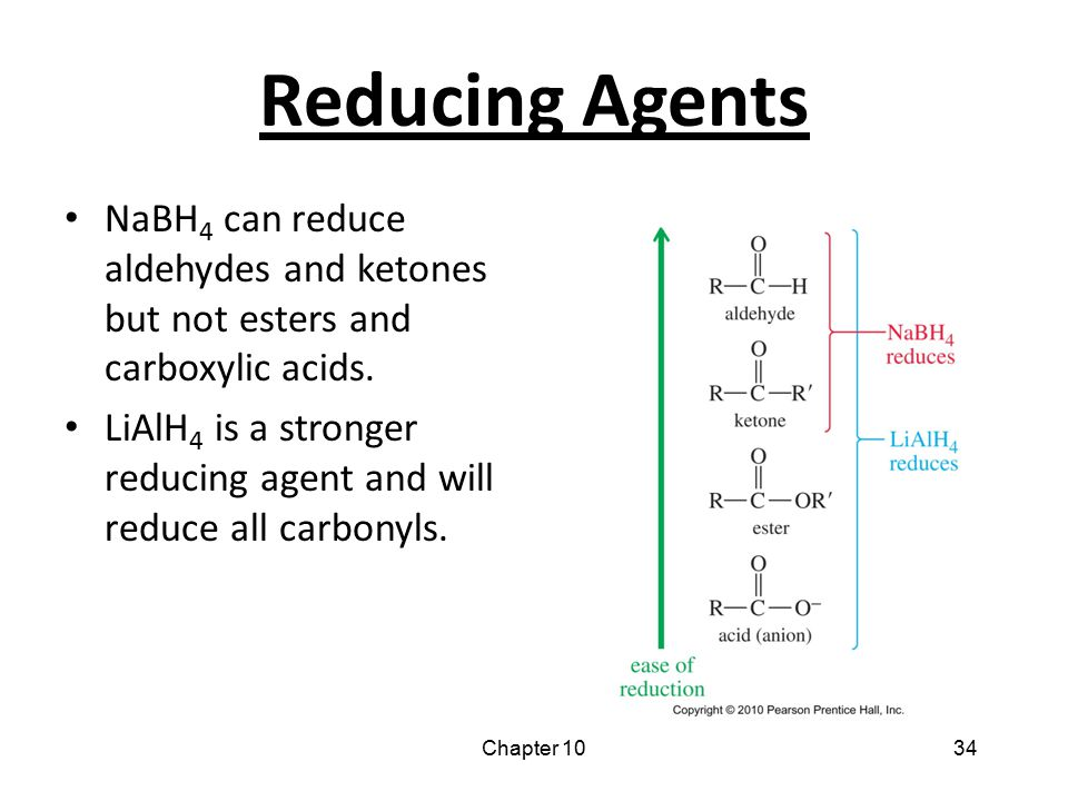 Reducing Agents NaBH4 can reduce aldehydes and ketones but not esters and carboxylic acids.