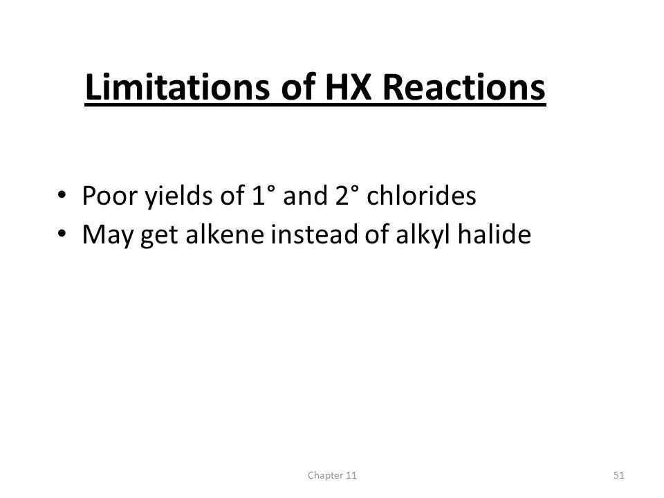 Limitations of HX Reactions