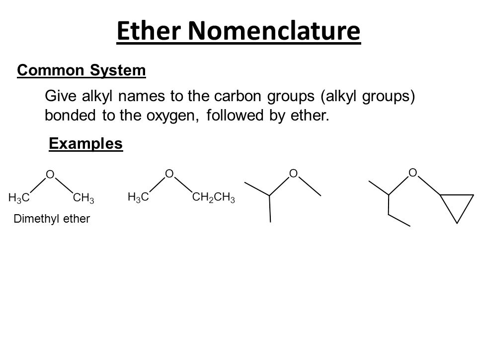 Ether Nomenclature Common System