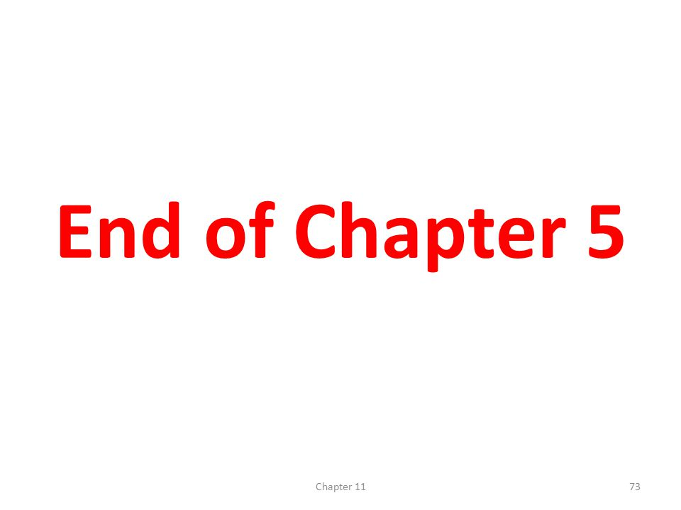 End of Chapter 5 Chapter 11