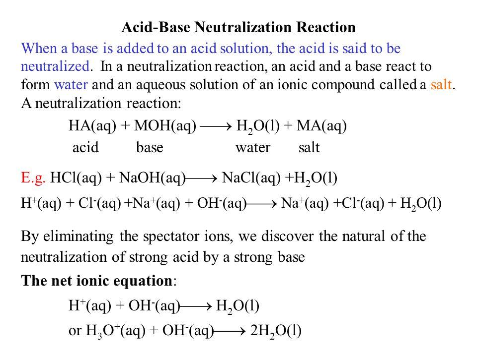 Acid-Base Neutralization Reaction