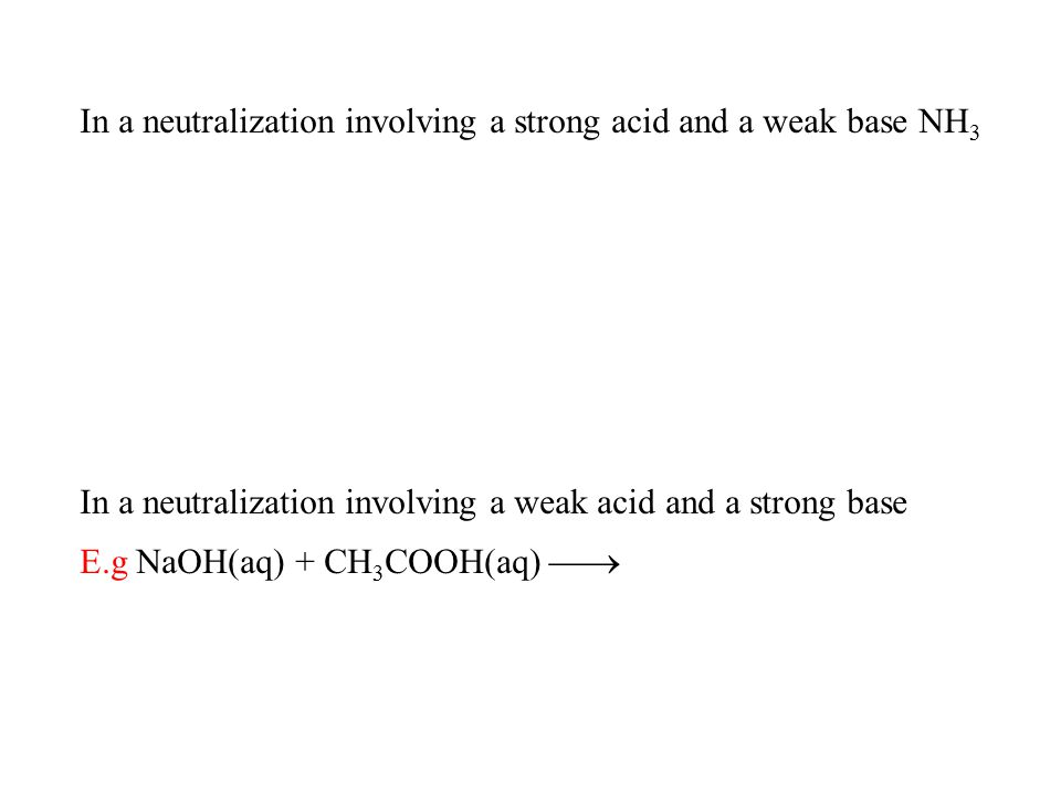In a neutralization involving a strong acid and a weak base NH3