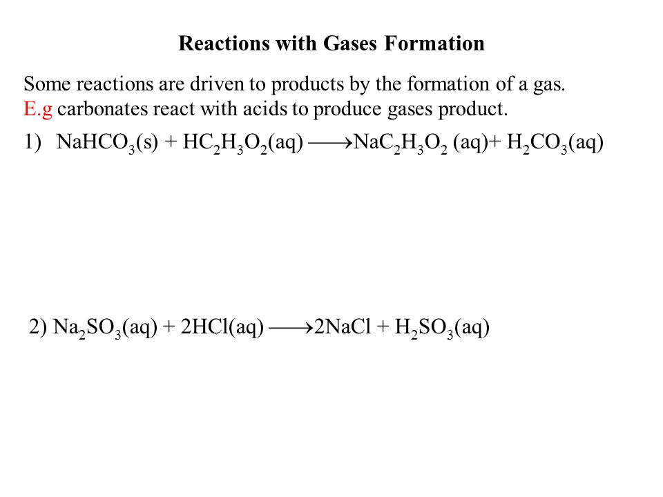 Reactions with Gases Formation