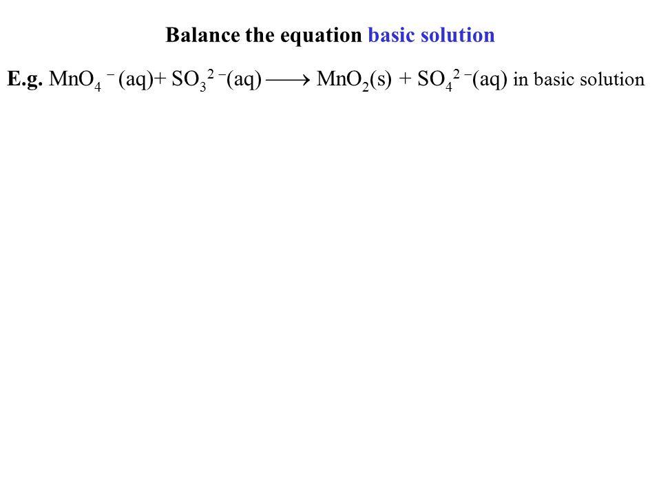 Balance the equation basic solution