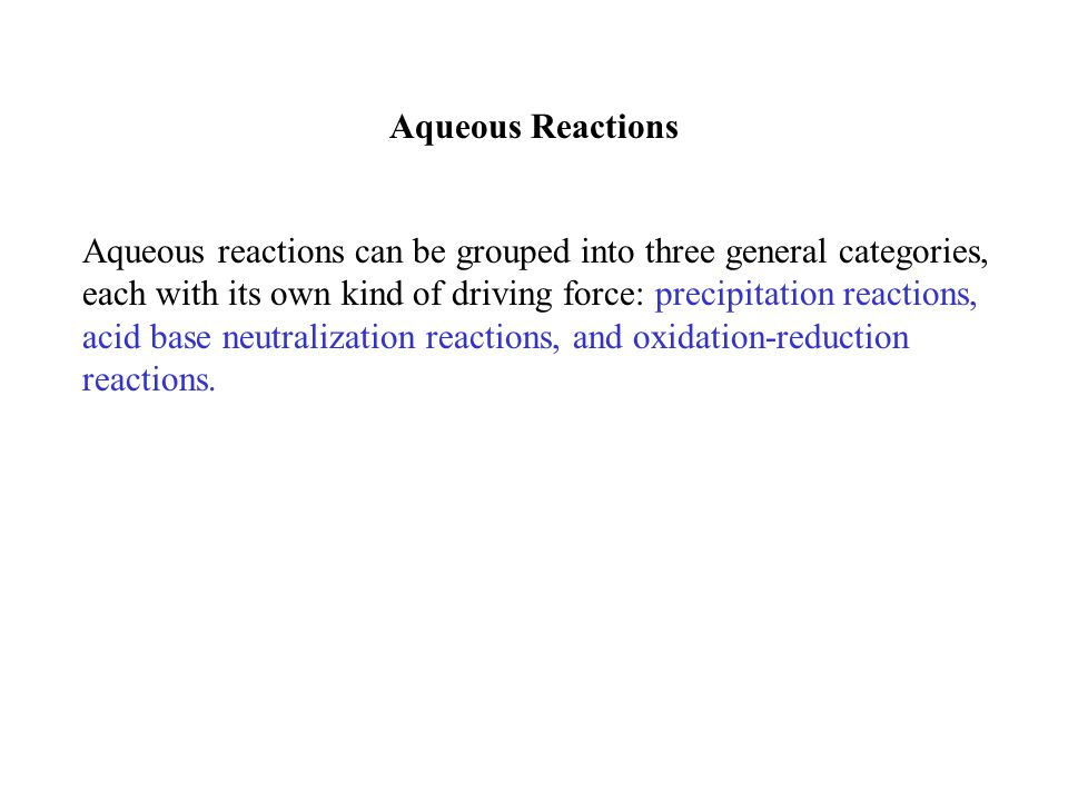 Aqueous Reactions