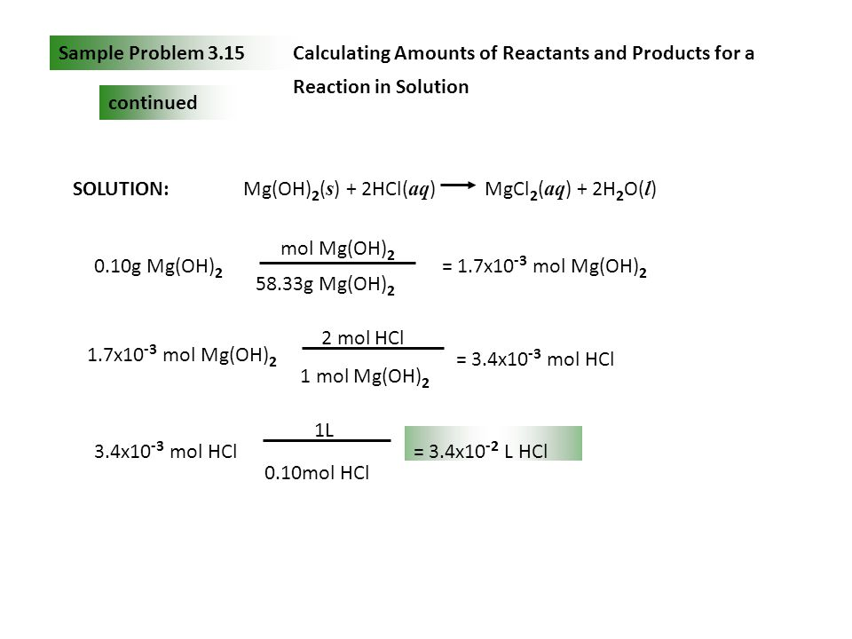 Sample Problem 3.15 Calculating Amounts of Reactants and Products for a Reaction in Solution. continued.