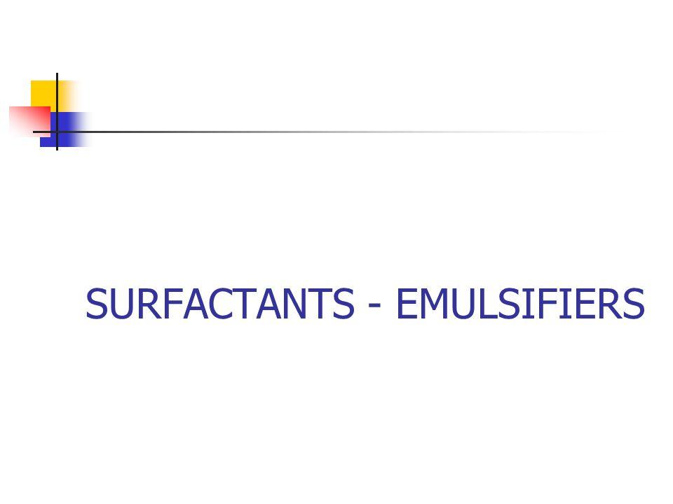 SURFACTANTS - EMULSIFIERS