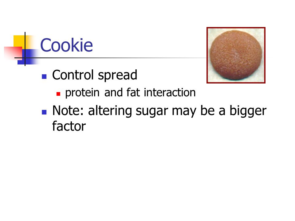 Cookie Control spread Note: altering sugar may be a bigger factor