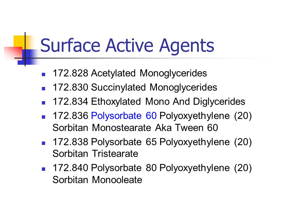 Surface Active Agents 172.828 Acetylated Monoglycerides
