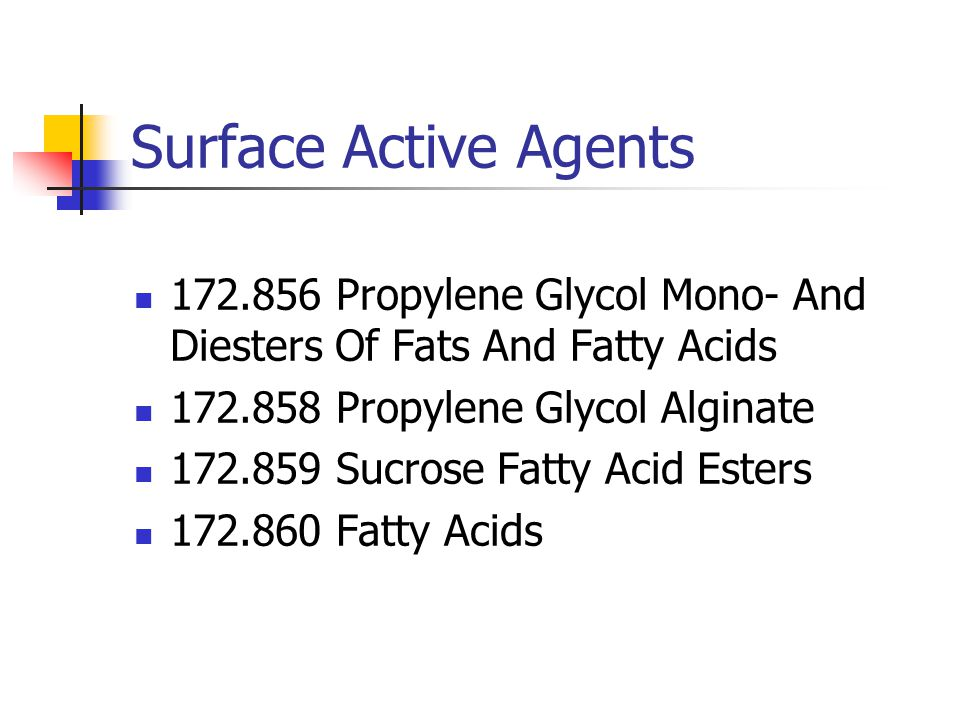 Surface Active Agents 172.856 Propylene Glycol Mono- And Diesters Of Fats And Fatty Acids. 172.858 Propylene Glycol Alginate.