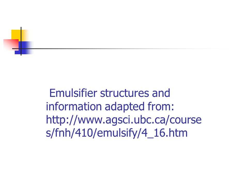 Emulsifier structures and information adapted from: http://www. agsci