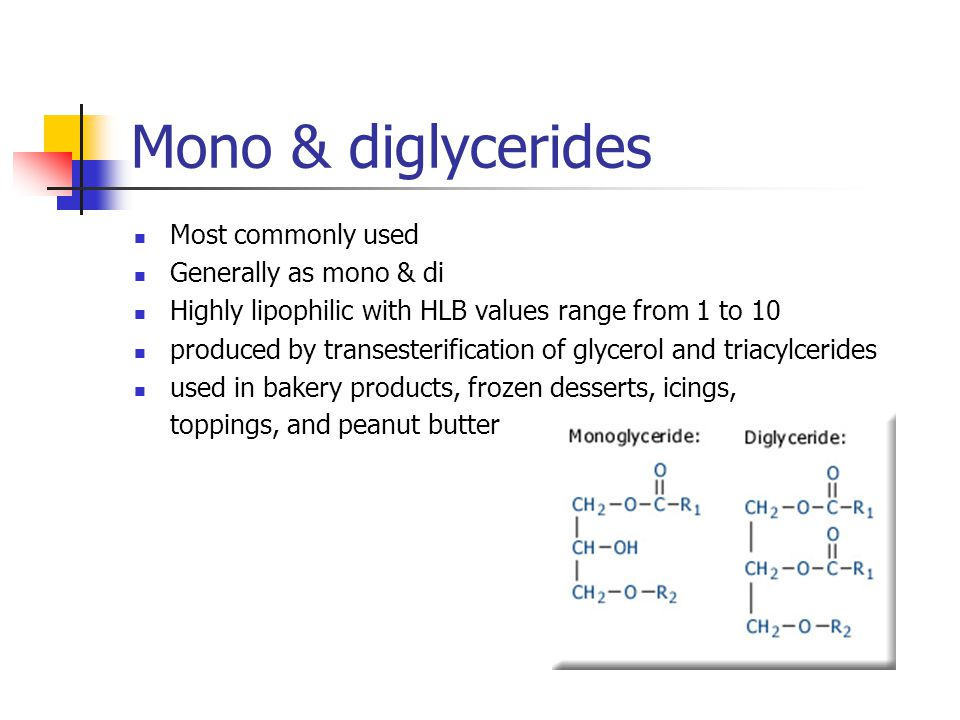 Mono & diglycerides Most commonly used Generally as mono & di