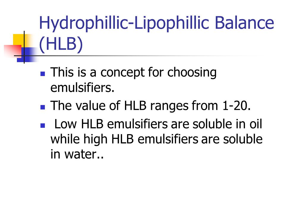 Hydrophillic-Lipophillic Balance (HLB)