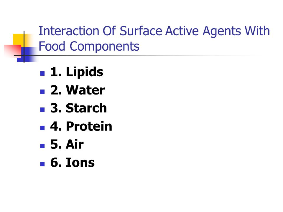 Interaction Of Surface Active Agents With Food Components