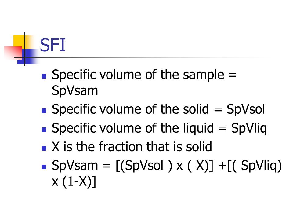 SFI Specific volume of the sample = SpVsam