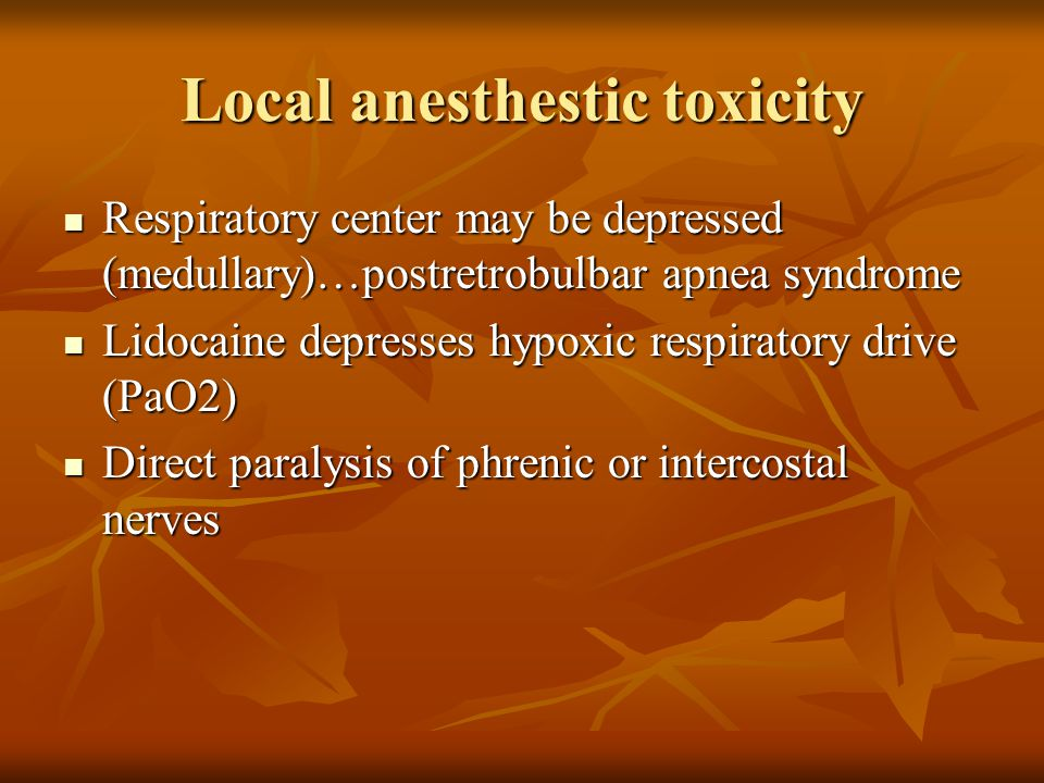 Local anesthestic toxicity