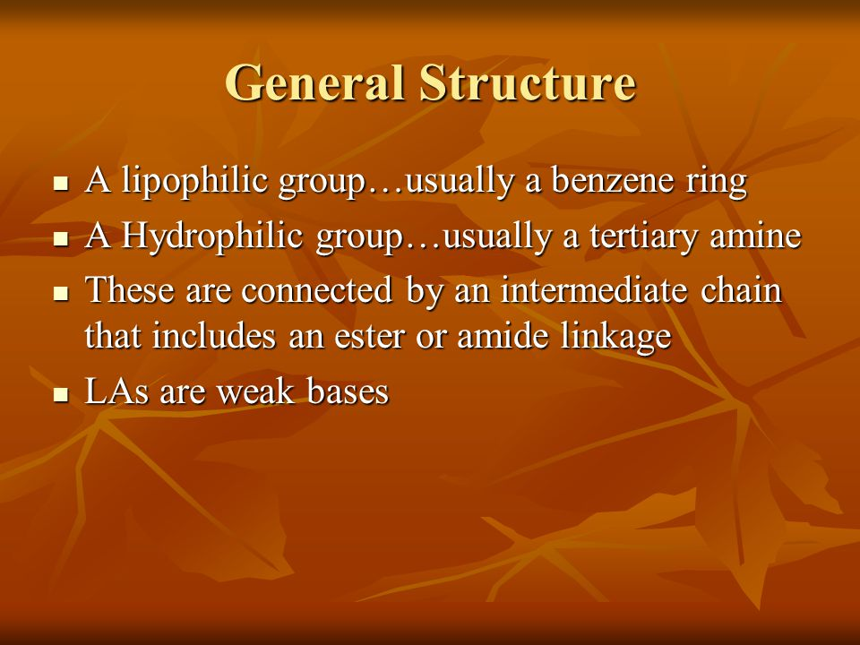 General Structure A lipophilic group…usually a benzene ring
