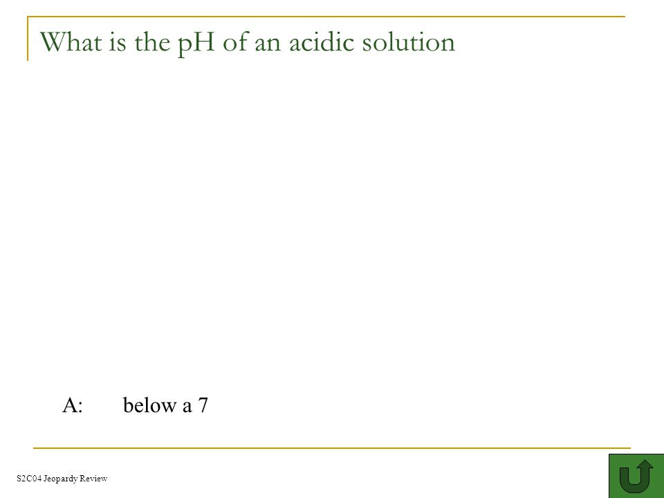 What is the pH of an acidic solution