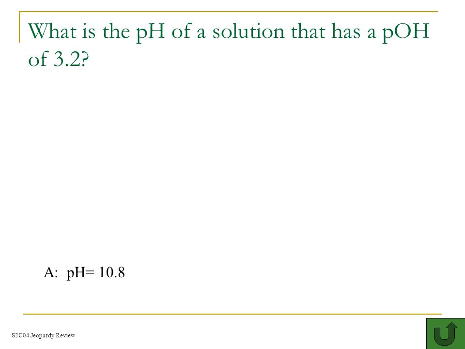What is the pH of a solution that has a pOH of 3.2