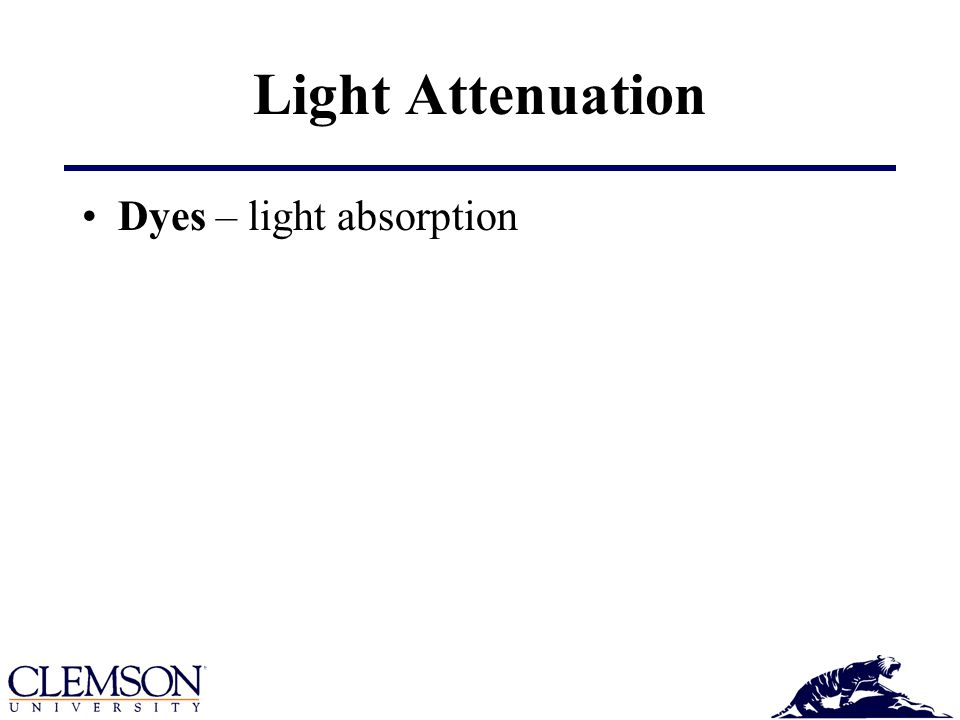 Light Attenuation Dyes – light absorption
