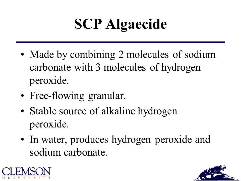 SCP Algaecide Made by combining 2 molecules of sodium carbonate with 3 molecules of hydrogen peroxide.
