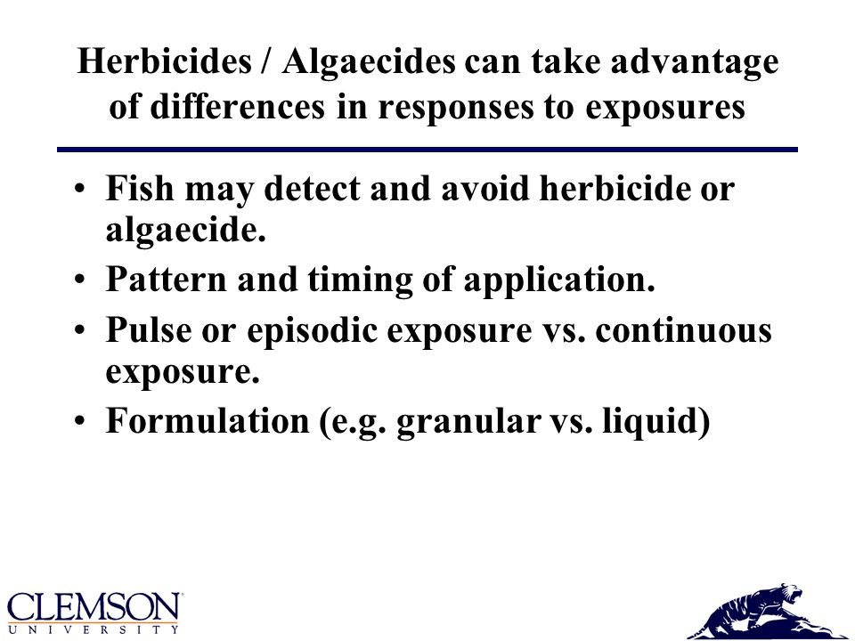 Herbicides / Algaecides can take advantage of differences in responses to exposures