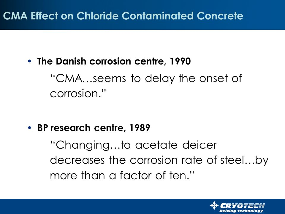 CMA Effect on Chloride Contaminated Concrete