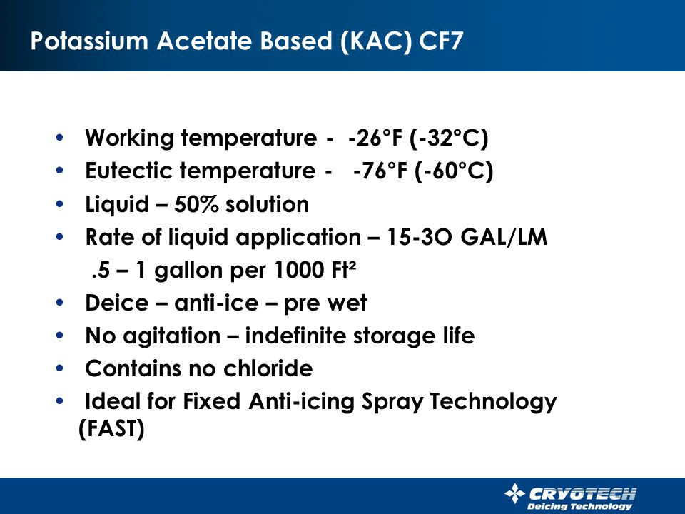 Potassium Acetate Based (KAC) CF7