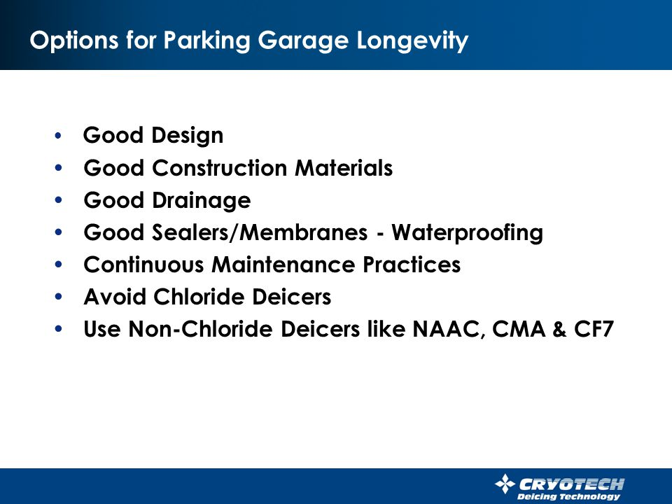 Options for Parking Garage Longevity
