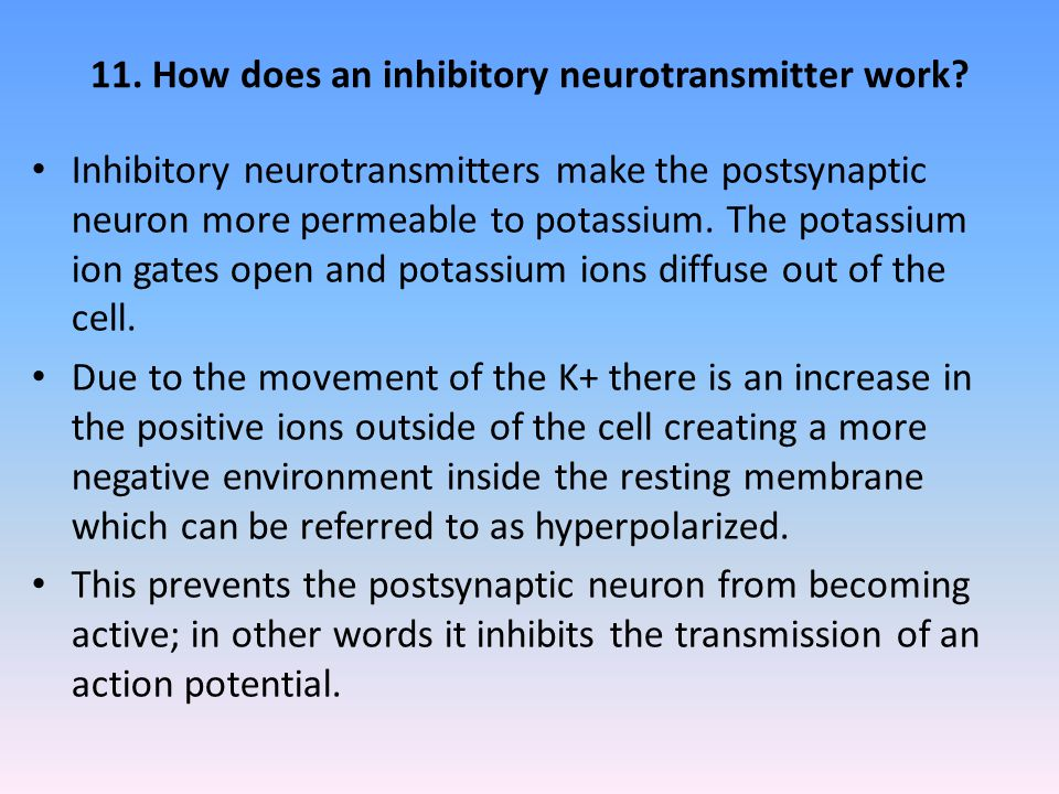 11. How does an inhibitory neurotransmitter work
