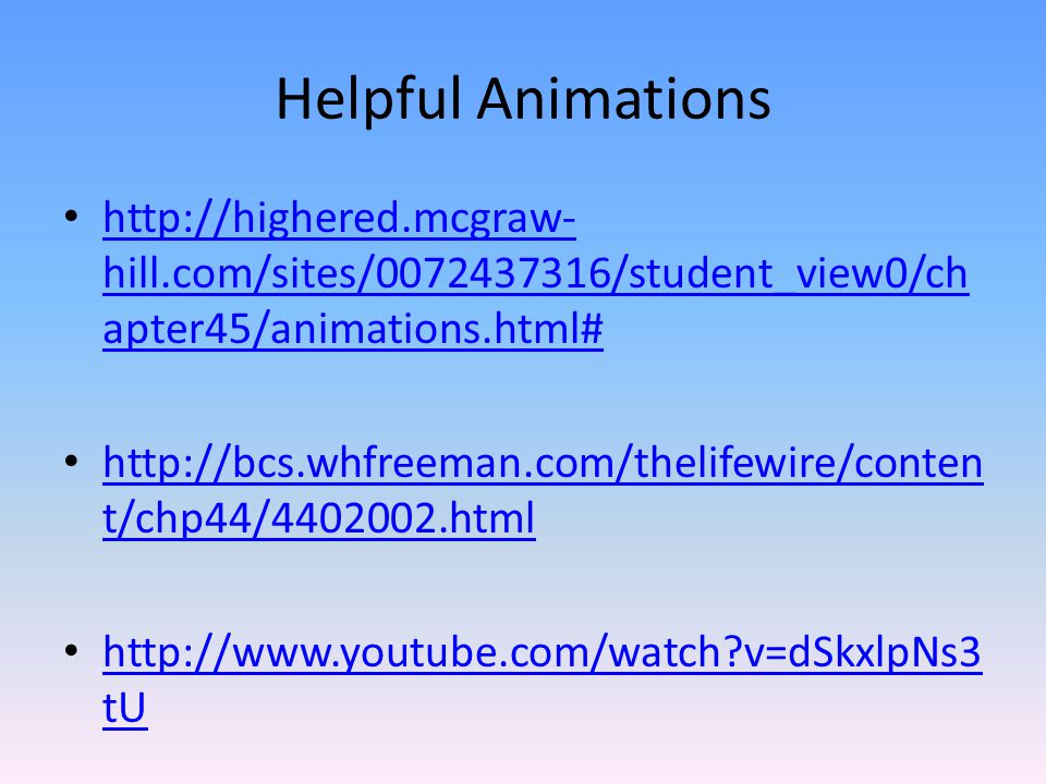 Helpful Animations http://highered.mcgraw-hill.com/sites/0072437316/student_view0/chapter45/animations.html#