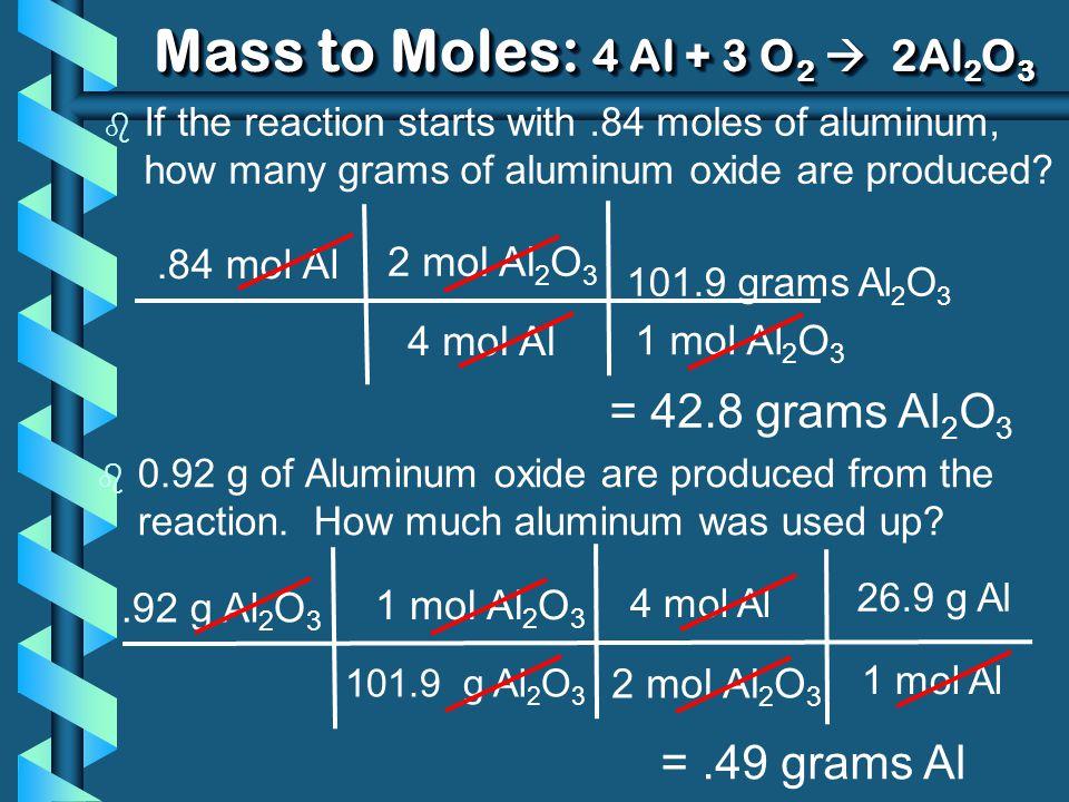 Mass to Moles: 4 Al + 3 O2  2Al2O3