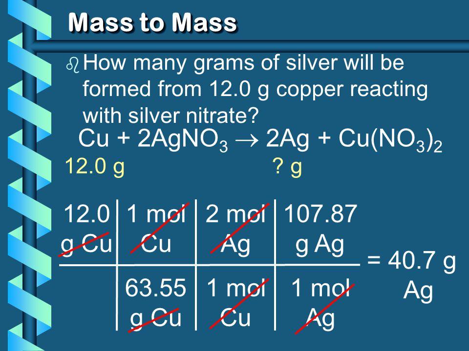 Mass to Mass Cu + 2AgNO3  2Ag + Cu(NO3)2 12.0 g Cu 1 mol Cu 63.55