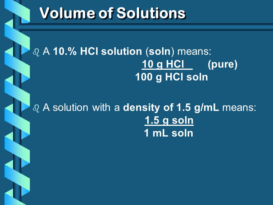 Volume of Solutions