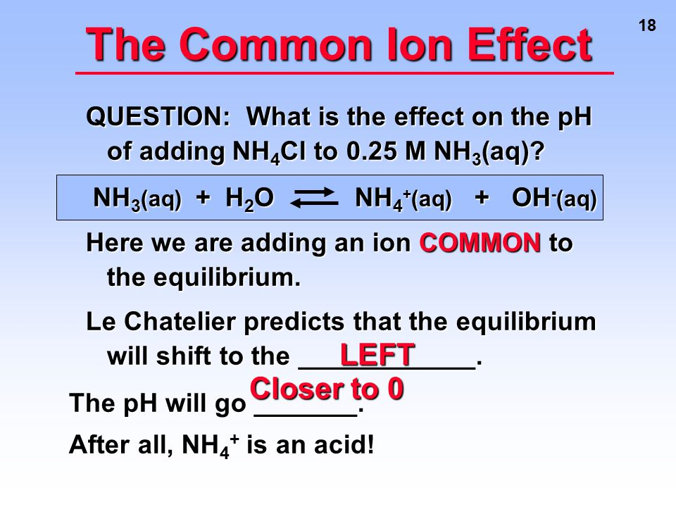The Common Ion Effect LEFT Closer to 0