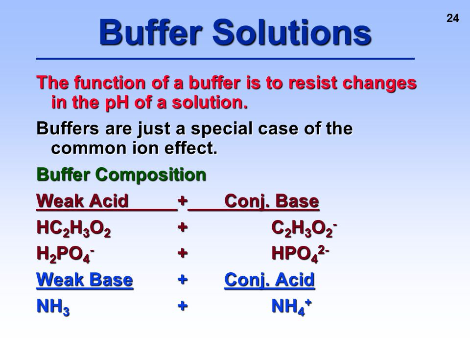 Buffer Solutions The function of a buffer is to resist changes in the pH of a solution. Buffers are just a special case of the common ion effect.