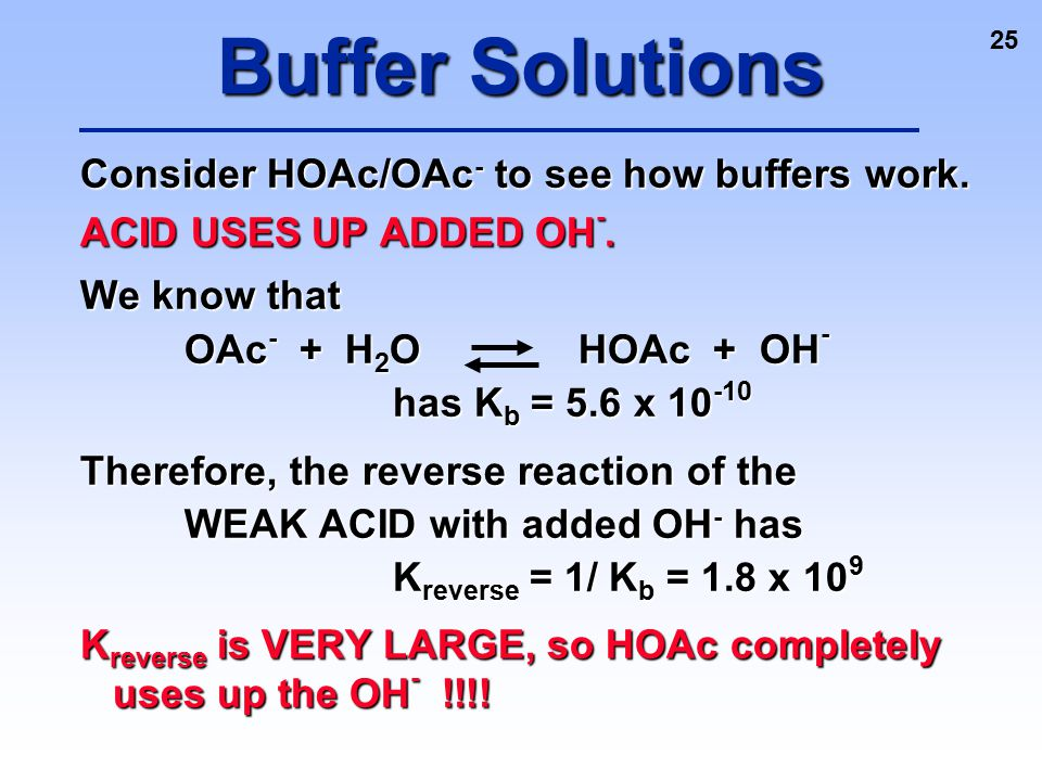 Buffer Solutions Consider HOAc/OAc- to see how buffers work.