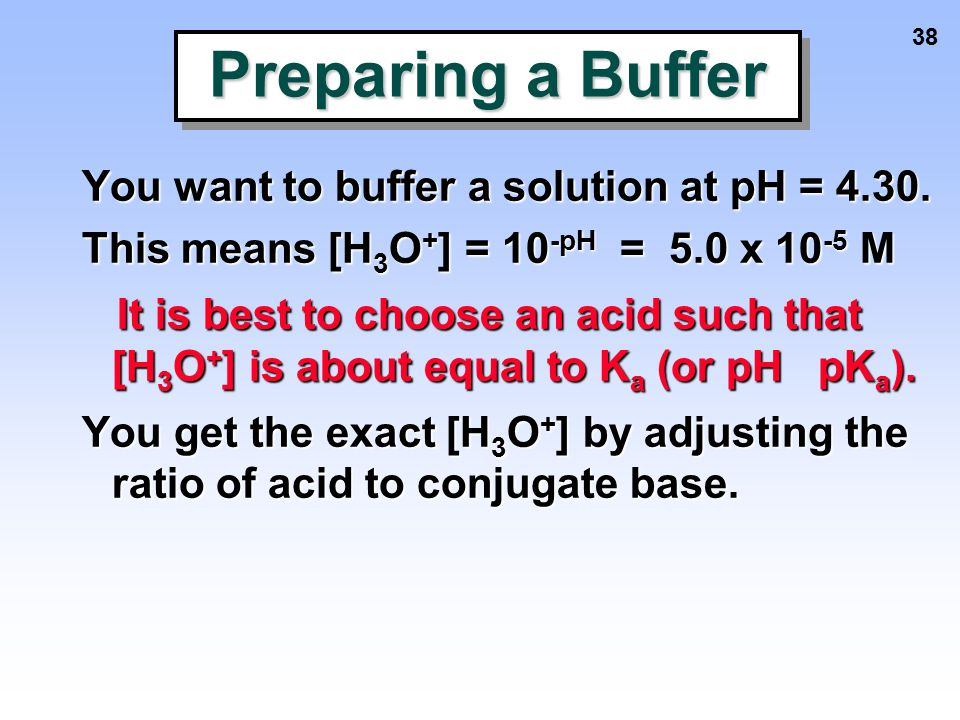 Preparing a Buffer You want to buffer a solution at pH = 4.30.