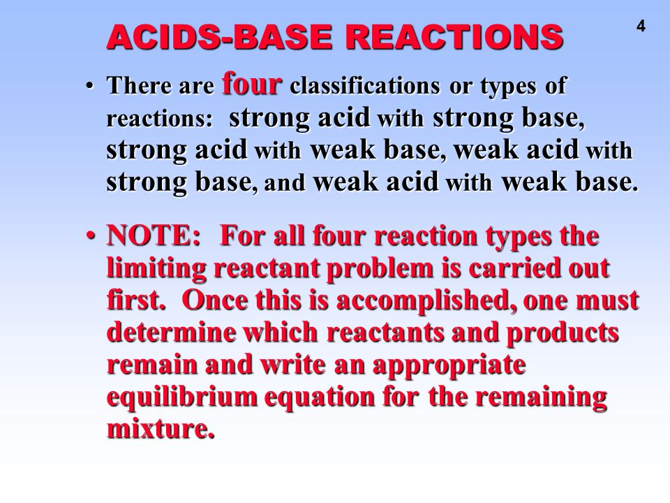 ACIDS-BASE REACTIONS
