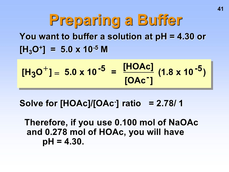 Preparing a Buffer You want to buffer a solution at pH = 4.30 or