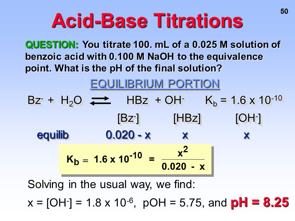 Acid-Base Titrations EQUILIBRIUM PORTION