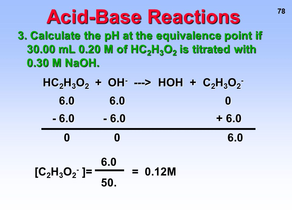 Acid-Base Reactions HC2H3O2 + OH- ---> HOH + C2H3O2-