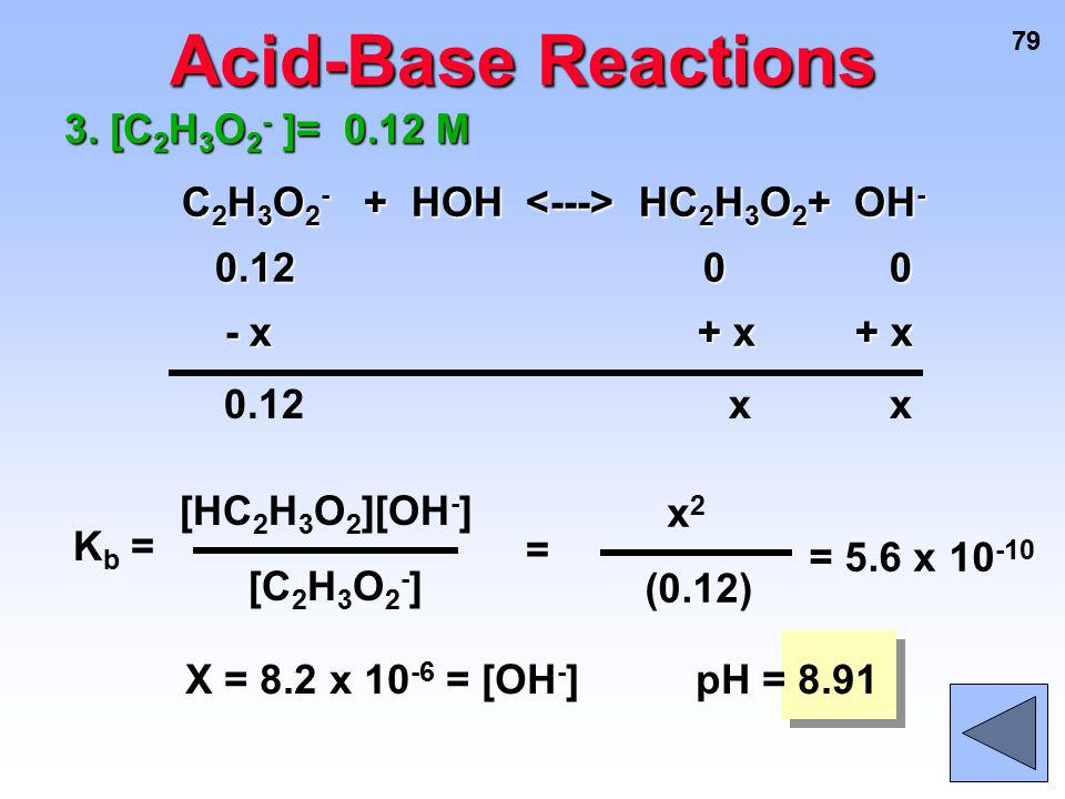 Acid-Base Reactions C2H3O2- + HOH <---> HC2H3O2+ OH-