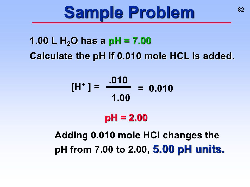 Sample Problem 1.00 L H2O has a pH = 7.00