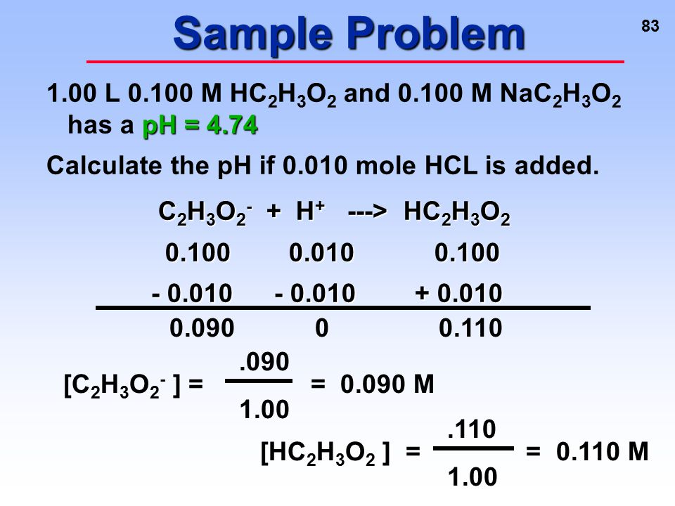 Sample Problem 1.00 L 0.100 M HC2H3O2 and 0.100 M NaC2H3O2 has a pH = 4.74. Calculate the pH if 0.010 mole HCL is added.