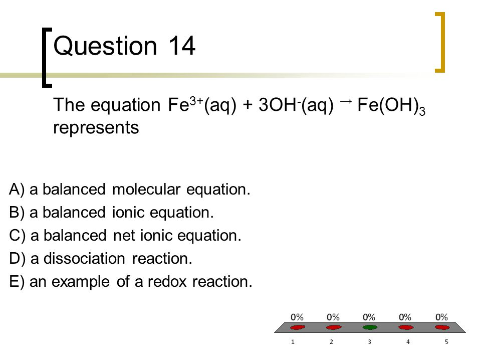 Question 14 The equation Fe3+(aq) + 3OH-(aq) → Fe(OH)3 represents
